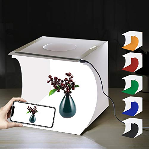 PULUZ Mini Photo Studio Box, 20cm Portable Photography Shooting Light Tent Kit, White Folding Lighting Softbox with 20 LED Lights + 6 Backdrops for Product Display