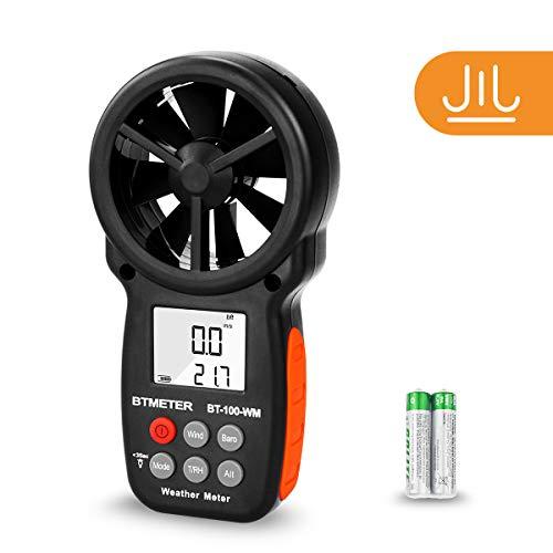 BTMETER Digital Anemometer Barometer Handheld, for Wind Speed Temperature Wind Chill Tester w/Humidity, Altitude, Barometric Pressure Meter for Climbing Drone HVAC CFM BT-100WM ()