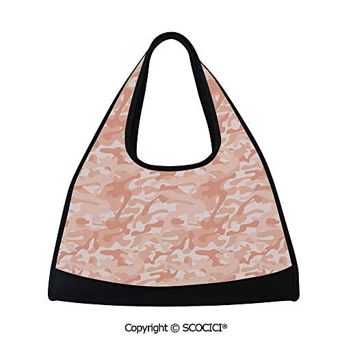 (Table tennis bag,Military Camouflage Pattern with Abstract Soft Color Splash Fashion Decorative,Easy to Carry(18.5x6.7x20 in) Salmon Peach)
