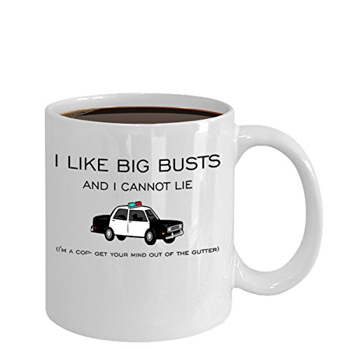 BIG COP BUSTS 11-oz Police Officer Badge Gear Coffee Mug Cup made of White Ceramic with Large Easy-Grip Handle is Perfect Gift Idea For Husbands Dad Wife Sister Brother Papa (Canada Brothers Property)