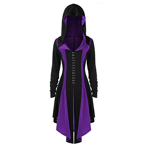 UOFOCO Irregular Parka Overcoat Womens Bandage Hoodies Back Coat Hooded Jacket Outwear Purple]()