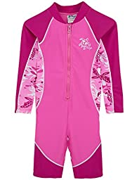 Tuga Girls High Tide L/S Swimsuit (UPF 50+), Cotton Candy, 12-18 mos