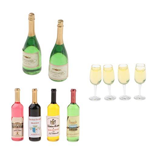 NATFUR 1/12 Dollhouse Wine Bottles Champagne Drink Bottles Glasses Ornaments Items