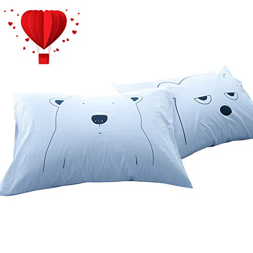 BuLuTu Cotton Animal Bear Print Bed Pillowcases Set of 2 Queen White Reversible Cartoon Kids Pillow Covers Decorative Standard For Boys Girls Envelope Closure End-Premium,Ultra Soft (2 Pieces,20