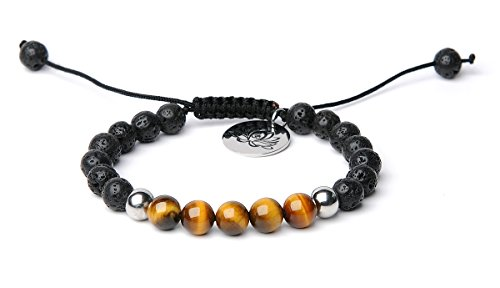 Bella.Vida Mens Womens 8mm Natural Lava Stones and Tiger Eye Bead Handmade Adjustable Braided Bracelet with Lotus - Women Ti