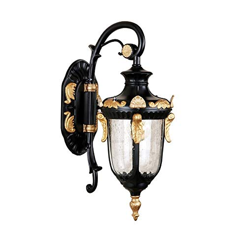 DLGGO Rustic Loft Mediterranean Style Outdoor Wall Sconce Black Gold Finish Waterproof Fixture High Clear Glass Antique Wall Lamp Exterior House Decoration Porch Patio Illumination Hardwire Wall Light