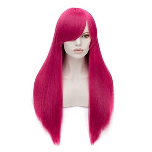 Fashion 21 Colors 70CM Long Straight Costume Cosplay Party Wig (Magenta) (Most Basic Halloween Costumes)