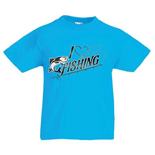 lepni.me T Shirts For Kids I Love Fishing - Fisherman Gift, For Fish Lovers Quotes, Joke Hobbies Humor (9-11 Years Light Blue Multi Color)