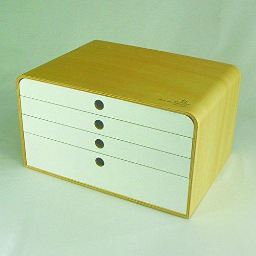 ファイルケース A4FILE CASE-4段ナチュラルXホワイト ヤマト工芸 B017H4BA1O