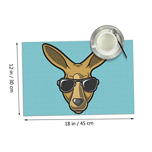 Carmen Belinda Kangaroo Placemats Set of 4 for Dining Table Washable Place Mats for Kitchen/Dinning Table, Home Table Decor Non-Slip Heat Resistant, 12x18 Inches
