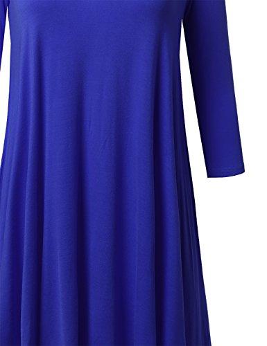 Côtes Manches Courtes Femmes Awesome21 Haut De Haut Bas Swing Ourlet Awdsd0555 Bleu Royal