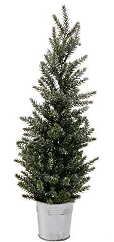 Faux Pine Glittered Tabletop Christmas Tree in Bucket Holiday Decoration, 17 Inch (Artificial Tree Bucket Christmas In)