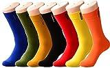 SPEEDITOP 6,7 Pack Men's Colorful Fun Solid Patterned Cotton Groomsmen Dress Socks-Funky Novelty Crazy Crew Socks Size 10-13