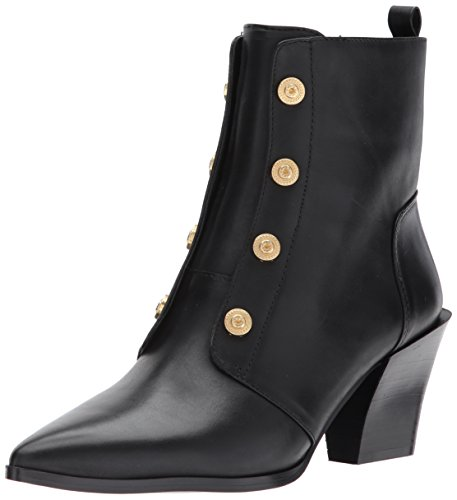 Nine West Women's Ellsworth Ankle Boot, Black Leather, 8 Medium US (Leather Womens Boots Dress)