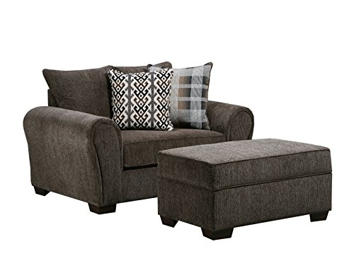 (Simmons Upholstery 9182BR-095 Parks Tiger Ottoman,)