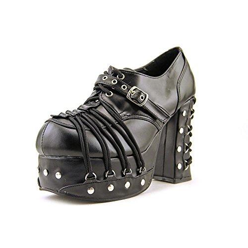 Charade-35 zwart mat- pump, punk, metal hakken schoen