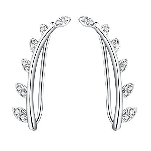 Ear Cuffs Crawler Earrings Sterling Silver Ear Climber Studs Olive Leaf Hypoallergenic