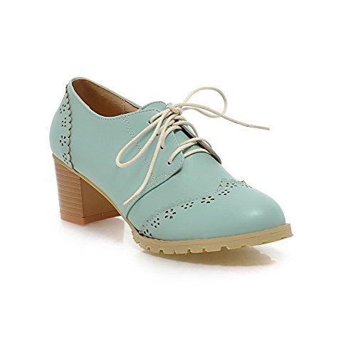 AllhqFashion Damen Weiches Material Rund Zehe Mittler Absatz Schnüren Rein Pumps Schuhe Blau