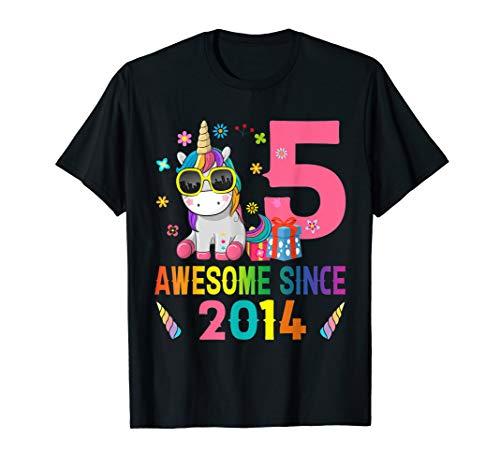 5 Years Old 5th Birthday Unicorn Shirt Girl Daughter Gift Pa