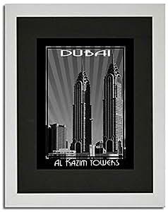 Al Kazim Tower Black And White F02-m (a4) - Framed