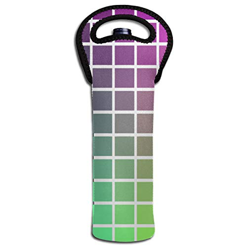 (XZX2018 Color Gradient Insulated Thick Neoprene Wine Carrier Tote Bag Water Bottle Holder with Secure Carry Handle Keeps Bottles Protected Perfect for BYO)