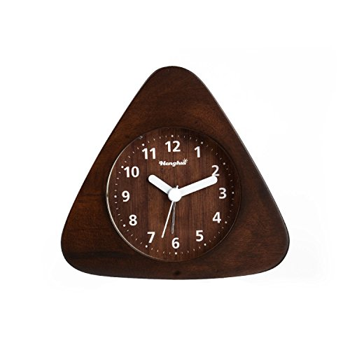 Henghui Solid Wood Non Ticking Analog Quartz Alarm Clock with Nightlight, Snooze and Ascending Sound Alarm (Natural Wood Brown, Triangle)