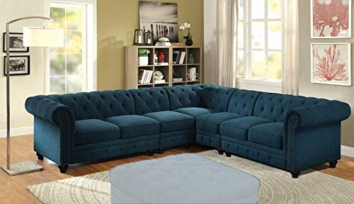 - 5- Piece Sectional with Left Arm Facing Loveseat, 2X Armless Chairs, Corner and Right Arm Facing Loveseat in Dark Teal