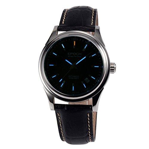 EPOCH 6029G tritium blue luminous leather strap sapphire mirror mens business automatic mechanical wrist watch -  EPOCH 6029G N blue leather blue