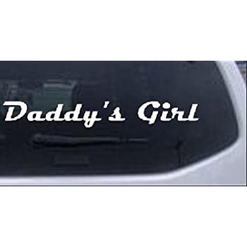 White 8in X 1.2in -- Daddys Girl Girlie Car Window Wall Laptop Decal Sticker