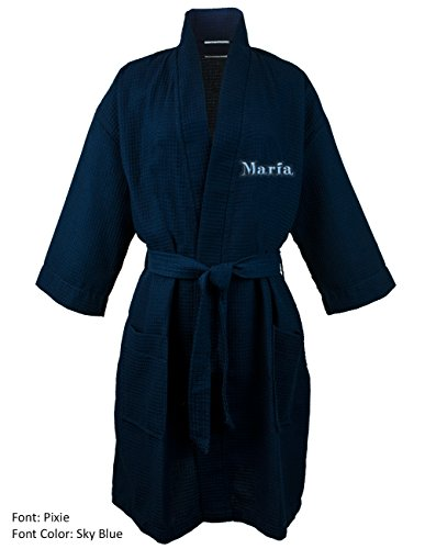 Personalized Name Custom Thigh Lenght Waffle Kimono Robe - Navy - One (Square Waffle Robe)