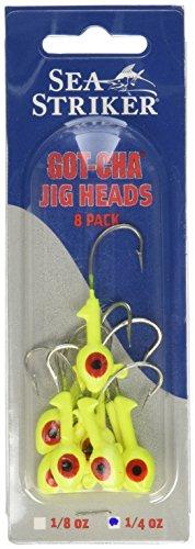 Sea Striker Got-Cha Jig Heads (8-Pack), 1/4-Ounce, Chartreuse Finish