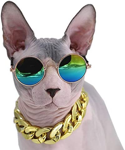 Kitipcoo Cool Stylish and Funny Pet Sunglasses Classic Retro Circular Metal Prince Sunglasses Necklace Set for Sphynx Cats Chihuahua or Small Dogs Fashion Costume (Sunglasses+Necklace) 19