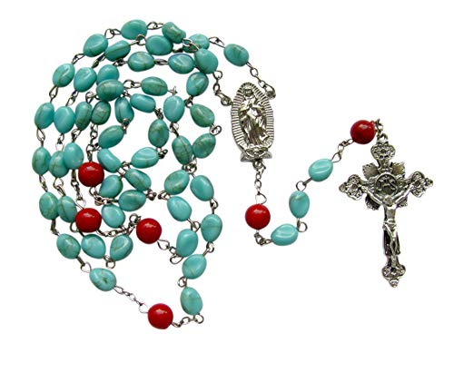 Our Lady of Guadalupe Nuestra Senora de Guadalupe Czech Glass Cotton Candy Teardrop Bead Rosary with Red Jasper Pater Noster and Silver Plated Findings Includes a Blessed Prayer Card