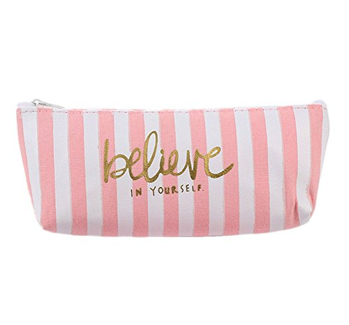 FreedI Canvas Pencil Case Pouch Zipper Closure Cosmetic Makeup Bag Cute Pen Stationery Holder - Multi Junior Handbags