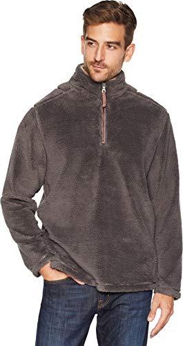 True Grit Men's Pebble Pile 1/4 Zip Pullover Harley Black Medium