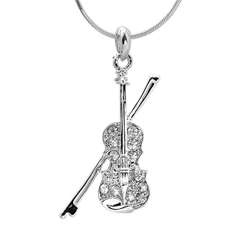 - SpinningDaisy Silver Plated Crystal Violin with Bow Necklace