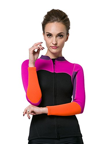 Damen 2mm Neopren Shirt Rash Guard Long Sleeve UV-Shirt UV-Schutz 50+ Rosa L