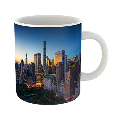 Emvency Coffee Tea Mug Gift 11 Ounces Funny Ceramic New York City Amazing Sunrise Over Central Park and Upper East Side Manhattan Gifts For Family Friends Coworkers Boss Mug ()