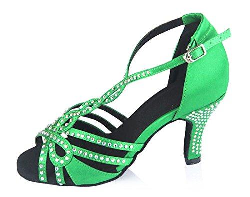 TDA Women's High Heel T-Strap Crystals Green Satin Salsa Tango Ballroom Latin Modern Dance Wedding Shoes 7.5 M US by TDA