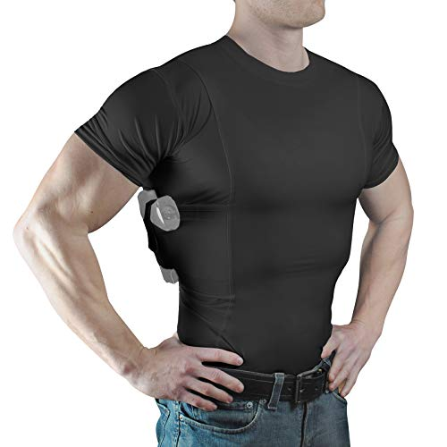 ConcealmentClothes Men's Crew Neck Undercover- Concealed Carry Holster Shirt- Black- X-Large -