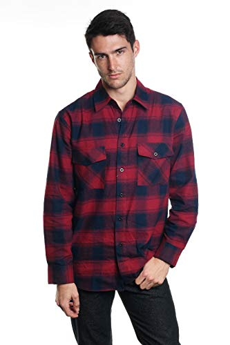YAGO Men's Long Sleeve Flannel Plaid Button Down Shirt Navy/Red