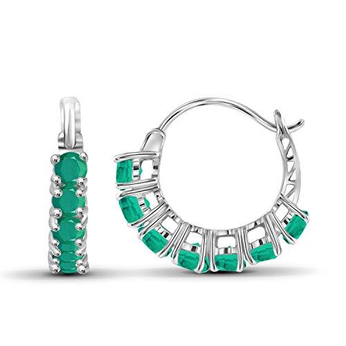 (1.70ctw Genuine Emerald Gemstone Sterling Silver Hoop Earrings)