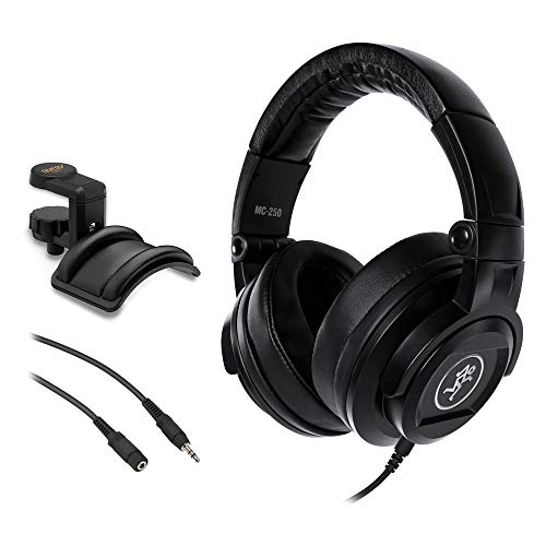 Studio Back Closed Professional - Mackie MC-250 Closed-Back Over-Ear Reference Headphones with Headphone Holder & 25' Stereo Extension Cable Bundle