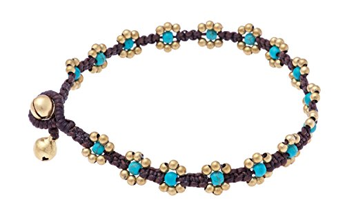 Lannaclothesdesign Womens Ankle Bracelet Beatiful Anklet Jewelry Beaded with Colored Beads and Brass Bells Adjustable