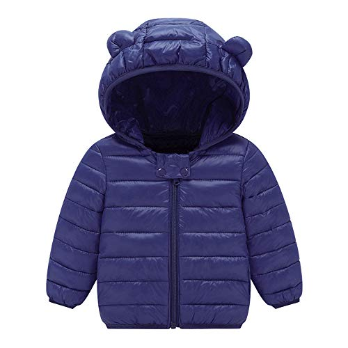 Yezijin Toddler Baby Kids Little Boy Girl Winter Hooded Jacket Thick Keep Warm Outerwear Coat for 0-4 Y (120(Age: 3-4 Years), Blue)