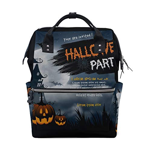 Halloween Haunted House Spooky Graveyard Large Capacity Diaper Bags Mummy Backpack Multi Functions Nappy Nursing Bag Tote Handbag for Children Baby Care Travel Daily Women -