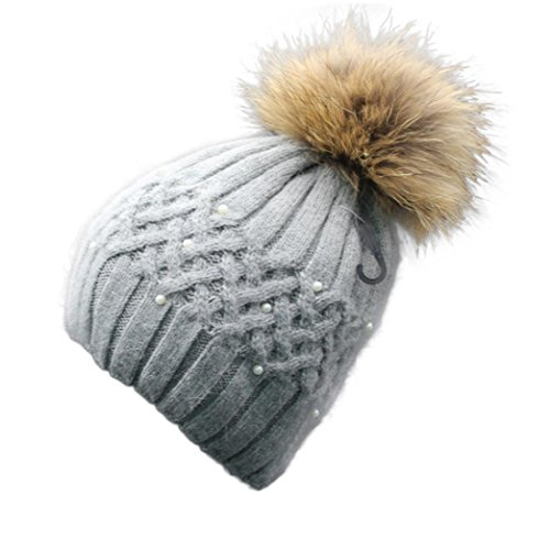 DEESEE Women Winter Pearl Crochet Hat Fur Wool Knit Beanie Warm Cap (Gray)