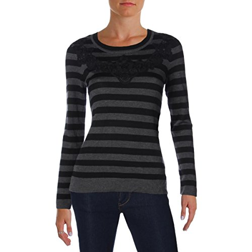 Vince Camuto Womens Lace Overlay Striped Crewneck Sweater Gray ()