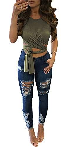 WorkTd Womens Criss Cross Bandage Wrap Crop Top Crew Neck Tie Shirts Green M ()