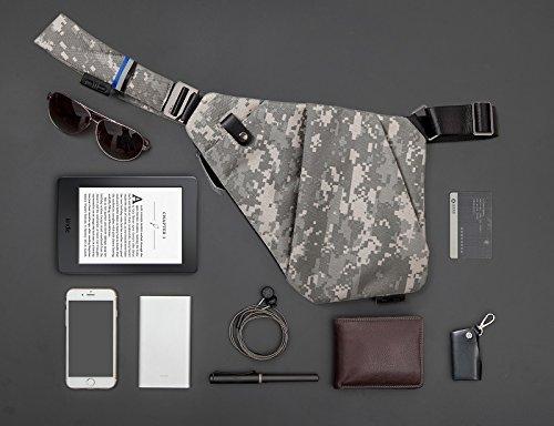 NIID-FINO NEO Sling Schulter Crossbody Brusttasche Schlank Rucksack Multipurpose Daypack (Meteorite schwarz, Rechte Hand) Tarnung Linken Hand